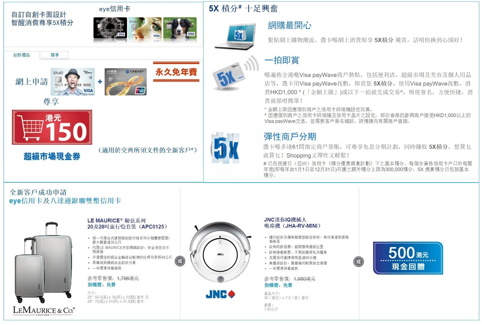 CreditBossHK 信用卡情報網 : 【網上同時申請eye信用卡+建行八達通銀聯雙幣信用卡送多HK$150超市現金券】