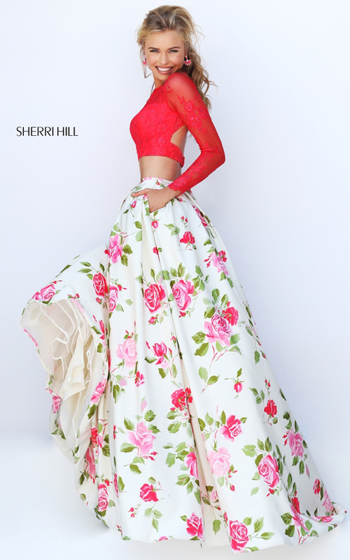2016 Sexy Prom Gown: Floor Length Sherri Hill Two Piece ...