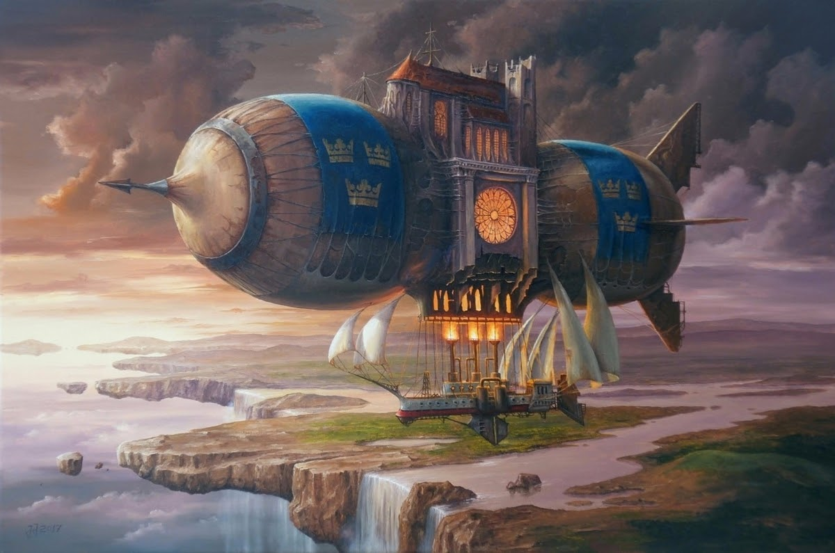 03-Scandinavian-Wind-Jarosław-Jaśnikowski-Paintings-of-Flying-Machines-and-Architectural-Surrealism-www-designstack-co