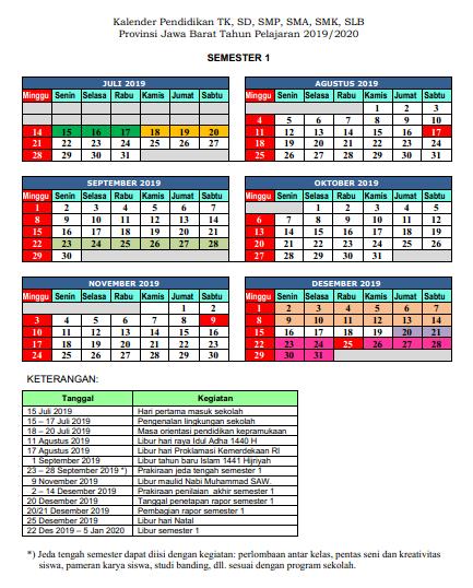 KALENDER PENDIDIKAN 2019/2020 PROVINSI JAWA BARAT
