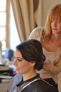 Hairdresser doing wedding hair, hairstyle, wedding, wedding dress, bridal hairstyle