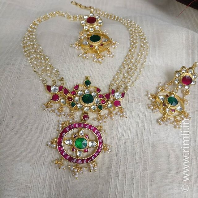 Kundan Pendant with Multiple Layer Pearls Set