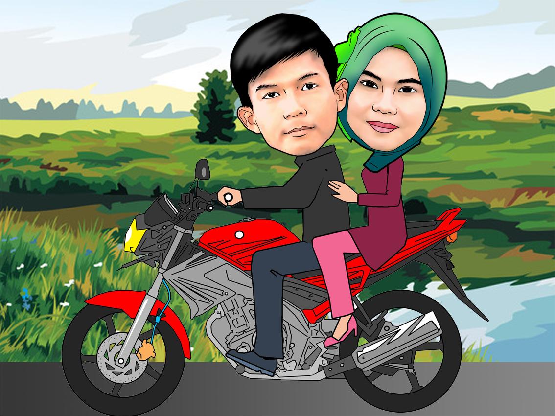 Kartun Romantis Pasangan Muda Mengendarai Sepeda Gambar Unduh