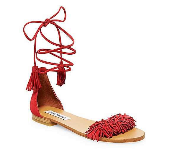 Steve Madden Sweetyy Flat Lace Up Fringe Sandals Aquazzura