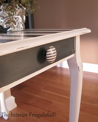 Queen Anne end table makeover After with cute striped knob