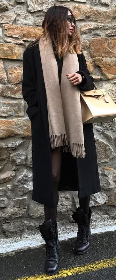winter fashion inspiration / black coat + scarf + boots + bag + dress