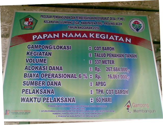 Papan Informasi Proyek Pembangunan Talud Penahan Tanah 337 Meter