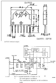 ic LA7833 Vertcal Amp Ic Aplied La7830, LA7820 GND Vertcal Outputpin Vertical Output Power Supply Input Pin Osilation Pin/Stoping pin Power Supply Pulse Amplyfier out