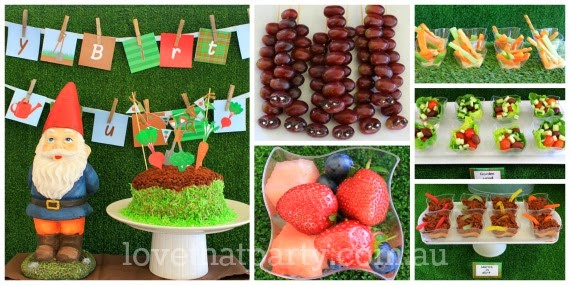 Party food at a gardening themed kid's birthday party - www.lovethatparty.com.au