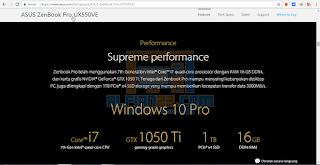 Cek spesifikasi laptop dari website nya langsung