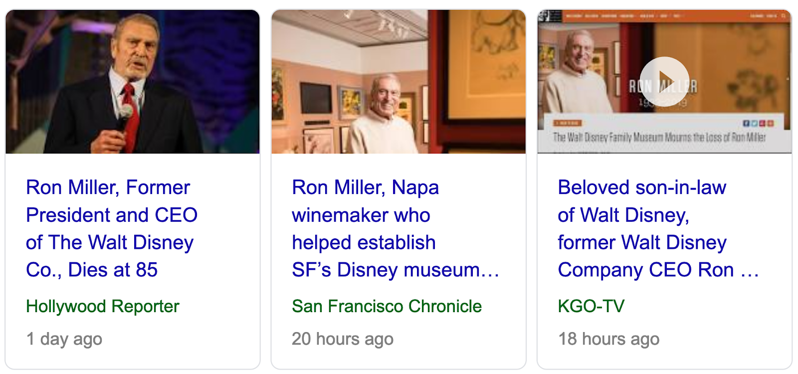 29 53 63 67 85 86 133   Ron Miller  former NFL player and Disney CEO