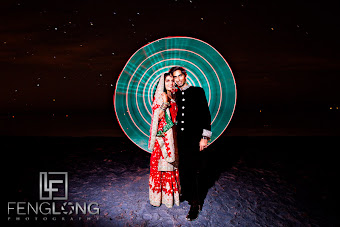 light painted in circle wedding