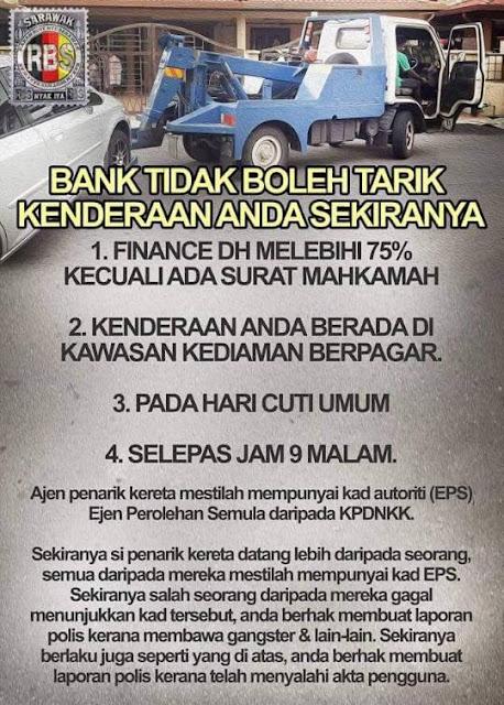 penarik kereta, apa yang perlu dibuat sekiranya kereta ditarik, hak sebagai pengguna, pembeli kereta, penyewa kereta, apa yang perlu diketahui,