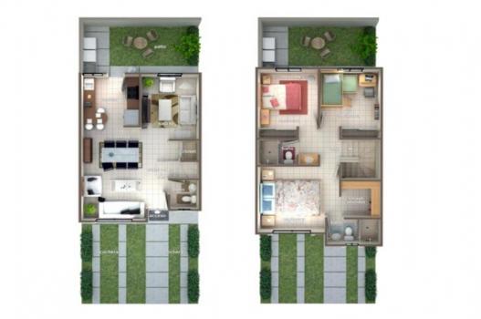 planta arquitectonica casa dos plantas cima residencial moderna plano