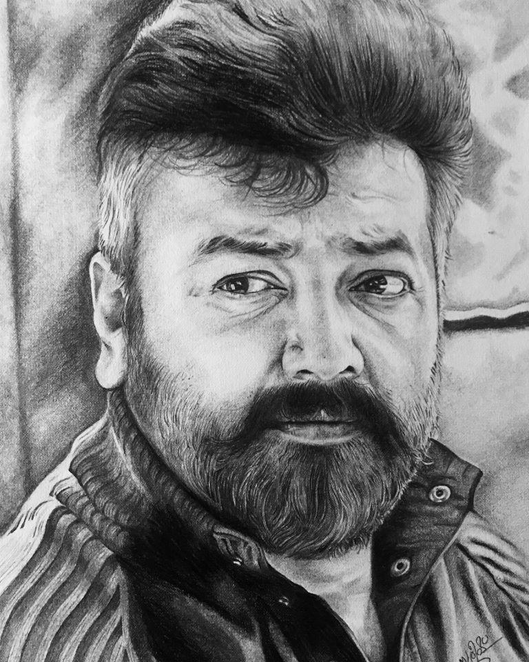 Pencil drawing of actor Jayaram