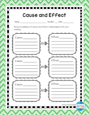 This free organizer is perfect for practicing cause and effect relationships.