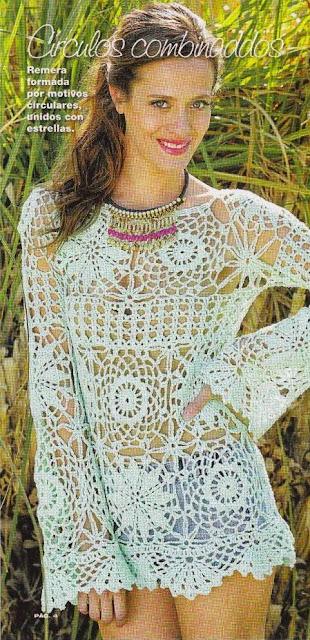 Blusa de círculos a Crochet o Ganchillo