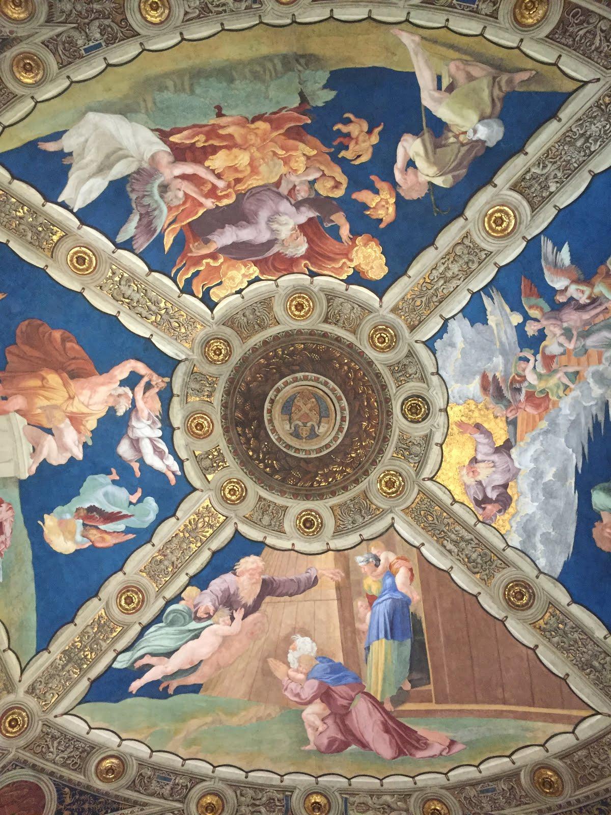 les splendides plafonds du vatican à rome