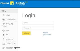 register Flipkart affiliate program