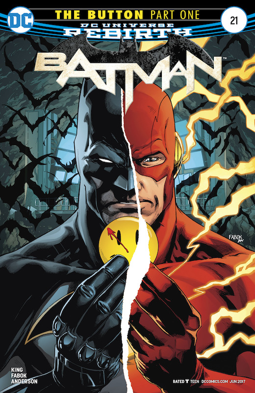 Batman #21 Story: Tom King Art: Jason Fabok Colors: Brad Anderson Letters: Deron Bennett Variant Covers: Tim Sale, Brennan Wagner, Mikel Jannin  Batman created by Bob Kane and Bill Finger. Flash (Barry Allen) created by Robert Kanigher and Carmine Infantino.