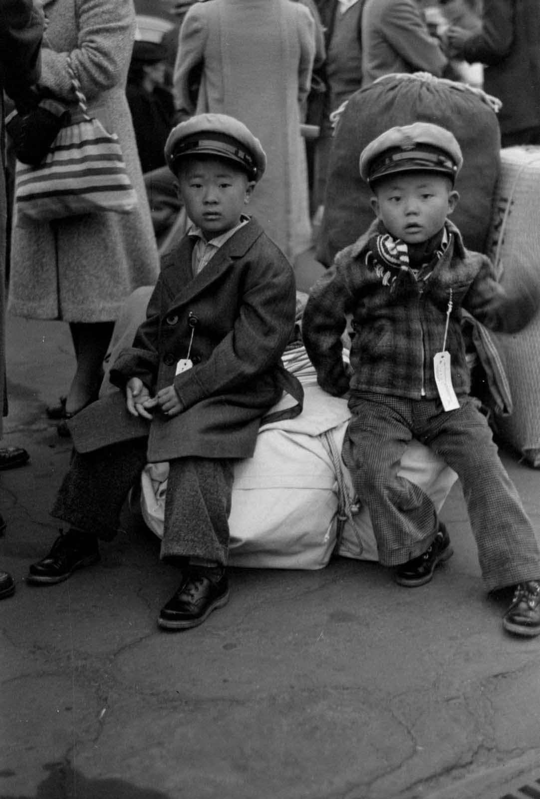 Japanese children waiting to be relocated.