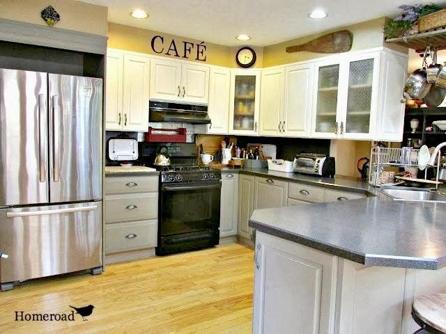 coffee station and painted cabinets