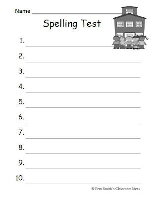 Fern\u0027s Freebie Friday ~ Year Round Blank Spelling Test Sheets - Fern