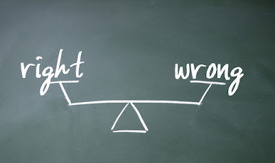 "The word ""right"" is balanced against the word ""wrong"""