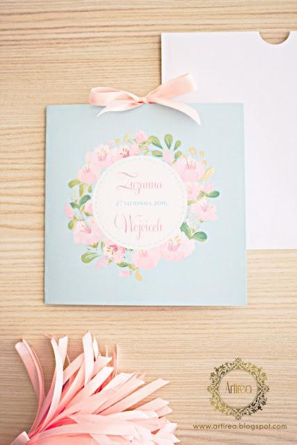 zaproszenie ślubne różowe pastelowe artirea