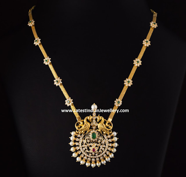 8 Lakhs Diamond Peacock Necklace