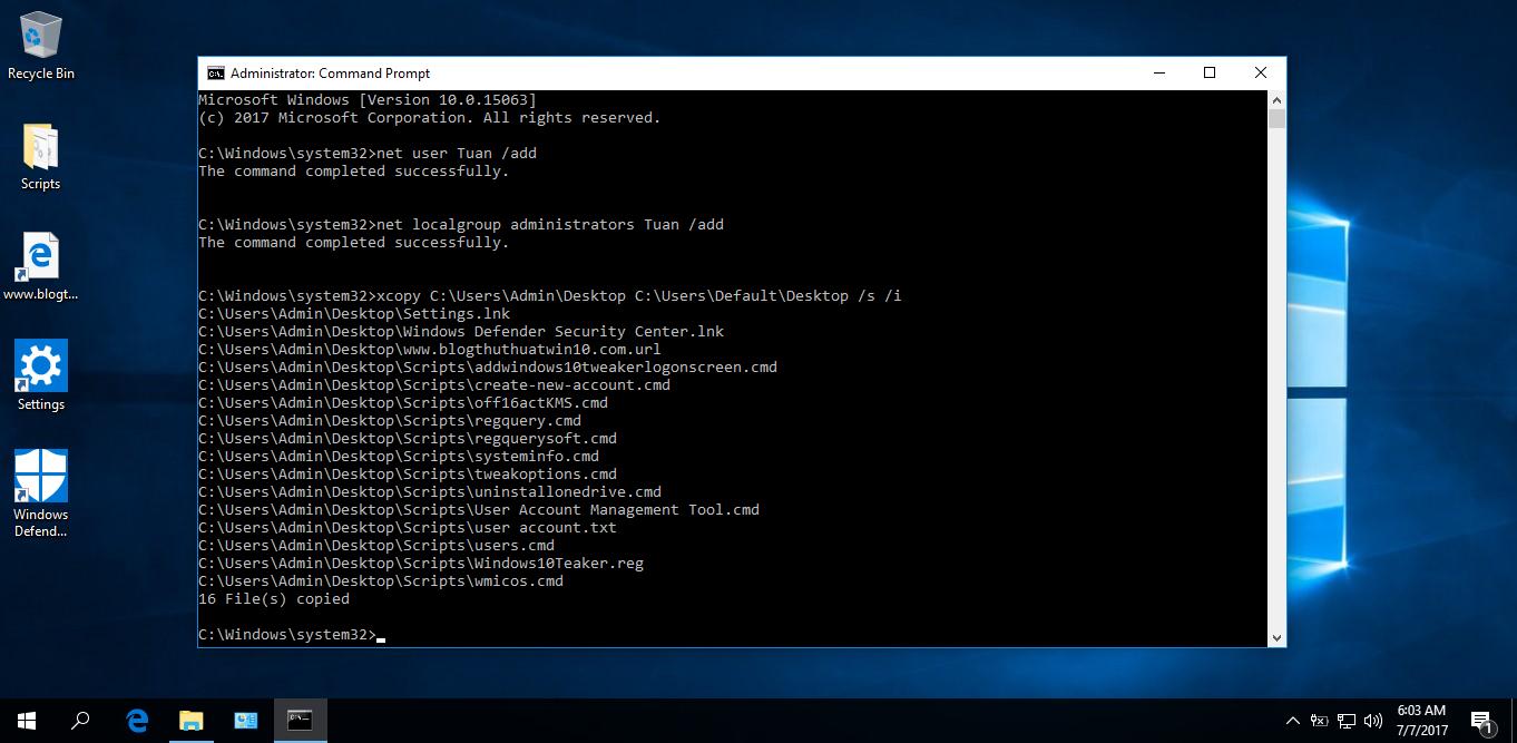 Cách sao chép file vào desktop khi tạo tài khoản người dùng mới