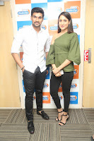 Pragya Jaiswal in a single Sleeves Off Shoulder Green Top Black Leggings promoting JJN Movie at Radio City 10.08.2017 108.JPG
