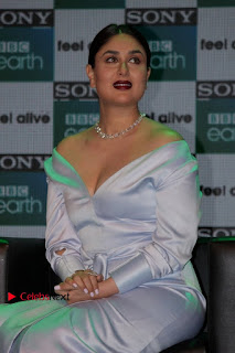 Bollywood Actress Kareena Kapoor Stills in Beautiful Silk Long Dress at Sony BBC Earth New Channel Launch  0004.jpg