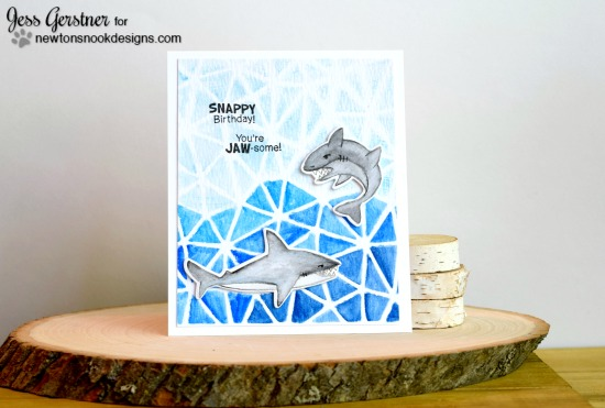 Shark Week Day 5 - Shark Card by Jess  | Shark Bites stamp set by Newton's Nook Designs #newtonsnook #sharkweek