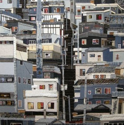 urban landscape Busan second hand denim creative painting