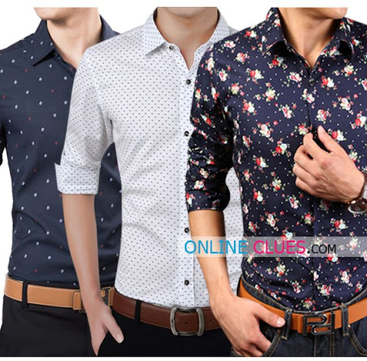 London Looks Men's 3 Printed Cotton Casual Shirts