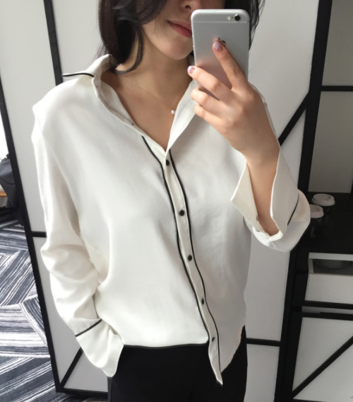 Contrast Piping Button-Down Shirt