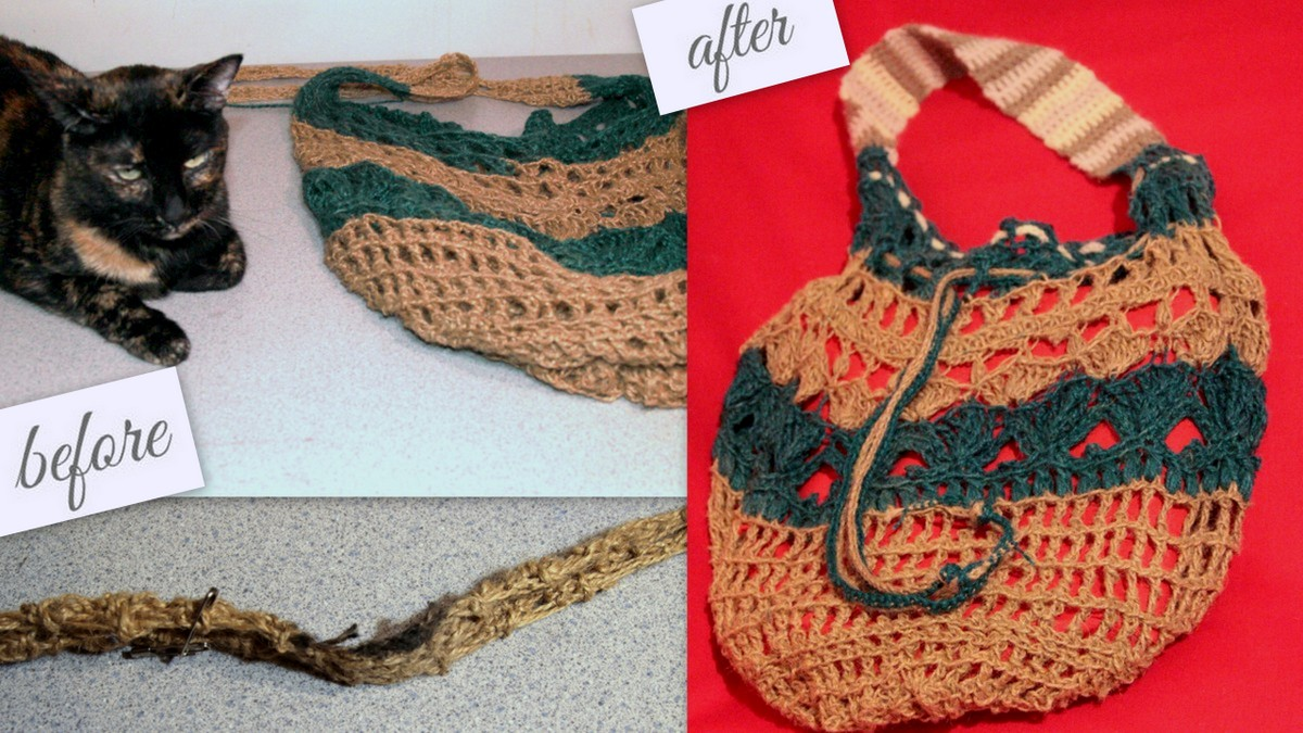 crochet string bag repair