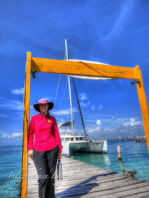 Lucy and a Lagoon 440 sailing catamaran in Isla Mujeres, Mexico