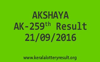 AKSHAYA AK 259 Lottery Results 21-9-2016