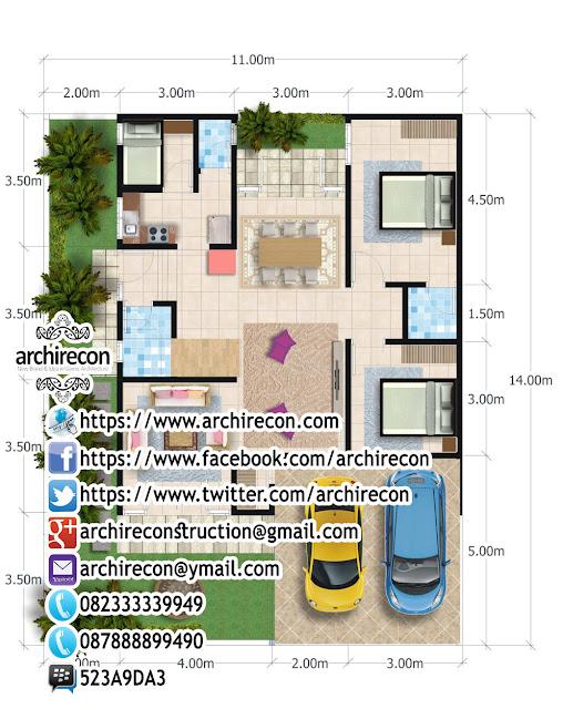 Perencanaan Rumah 2 Lantai di Lahan Hook - Gambar Denah Lantai 1