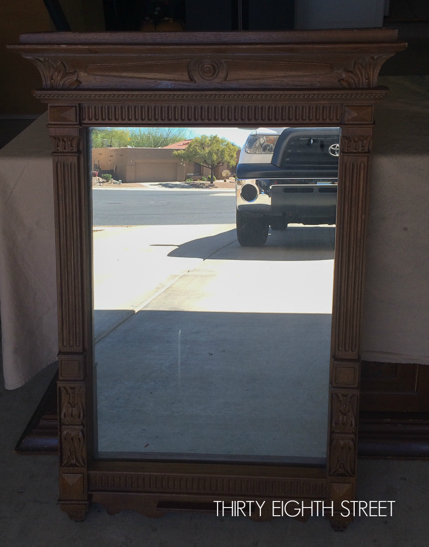 painted mirror, painting a mirror, mirror before and after, refinished mirror, layering paint on a mirror