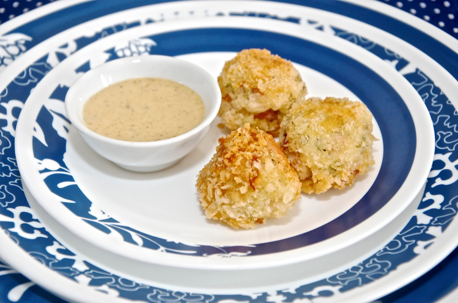 Spicy Honey Mustard Dipping Sauce with Potato, chicken and ham croquettes