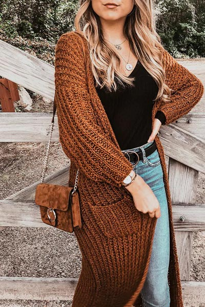 21+ Non-Boring Fall Outfits for Work | Ribbed Longline Open Front Cardigan