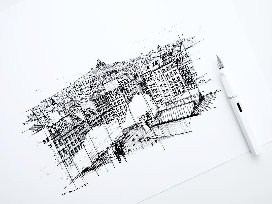13-Parisian-rooftops-Pompidou-Dan-Hogman-Urban-Sketches-of-Paris-in-France-www-designstack-co
