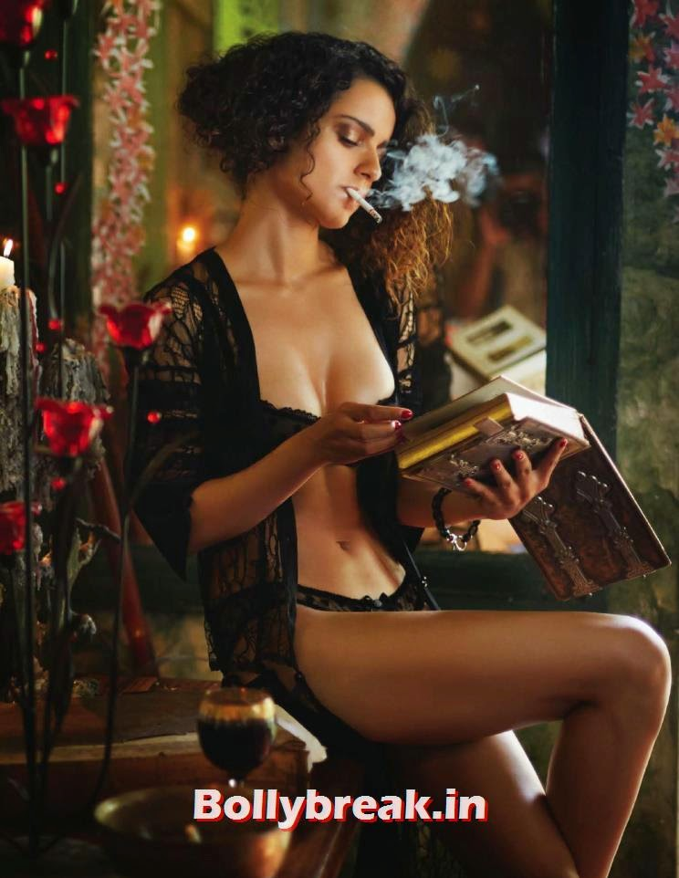 Kangana Ranaut smoking in night bikini. Kangana Ranaut is seen here in Black Nighty