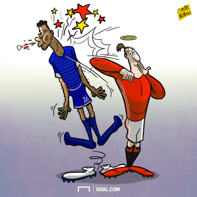 Tyrone Mings and Ibrahimovic cartoon