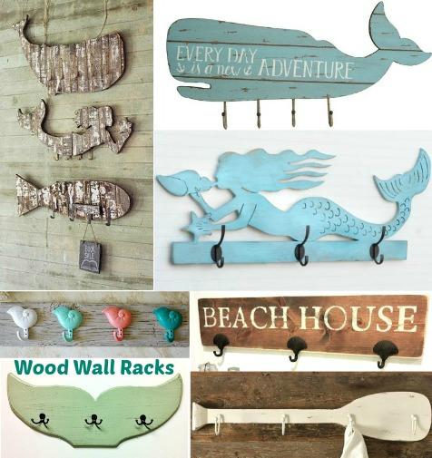 Coastal Nautical Wood Wall Hook Racks