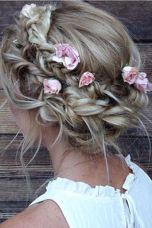pretty boho braided wedding hairstyle
