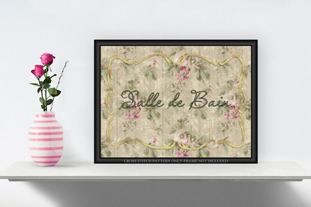 Printable Salle de Bain Cross Stitch Pattern Wild Roses